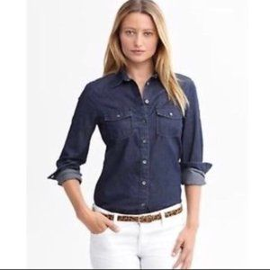 Banana Republic dark denim LS button down shirt